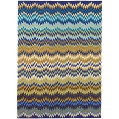 MissoniHome Piccardia Wool Rug in Blue & Camel Chevron Print