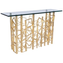 Monterey Console in Gold Leaf and Glass by Badgley Mischka Home