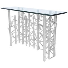 Monterey Console in Silver Leaf and Glass by Badgley Mischka Home