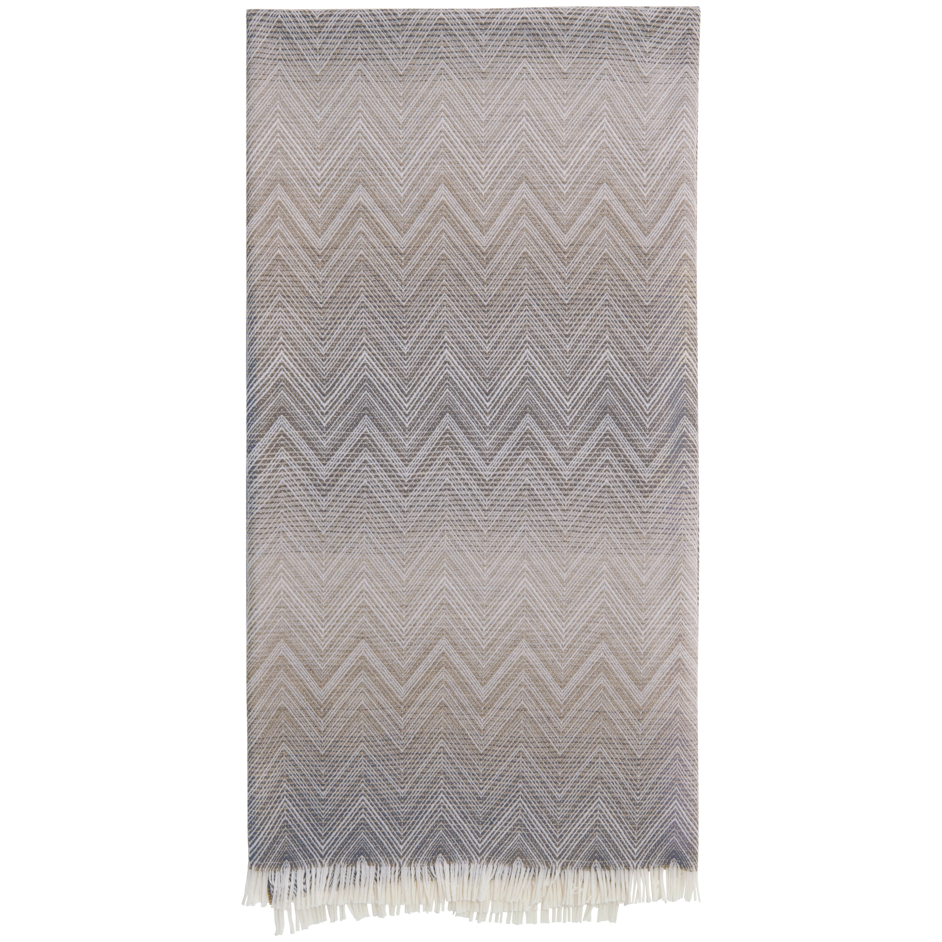 Missoni Home Timmy Throw in Beige and Gray Chevron Print