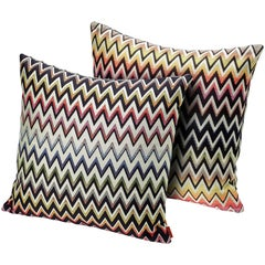 MissoniHome Vernal Cushion Set in Jacquard with Multi-Color Chevron Pattern