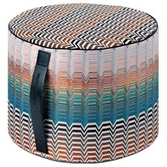 MissoniHome Santafe Pw Cyclinder Pouf with Multicolor Greek Key Pattern