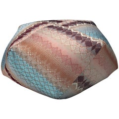 MissoniHome Tbilisi Diamante Pouf in Blue and Pink Wave Pattern