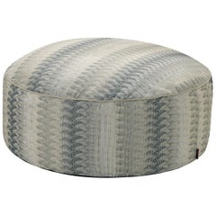 MissoniHome Remich Pallina Pouf in Beige and Gray Lace-Inspired Print