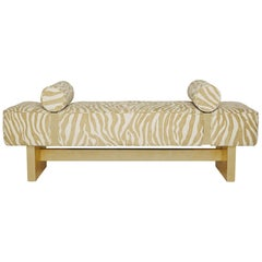 Casablanca Bench in Wood and Animal Print by Badgley Mischka Home