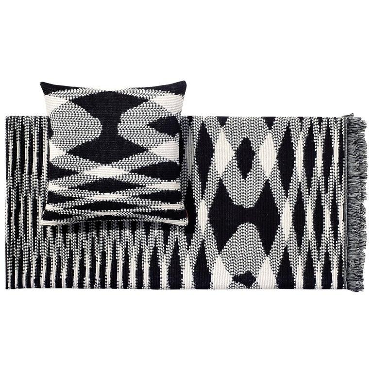 MissoniHome Sigmund Throw & Cushion Set in Black & White Flame Print
