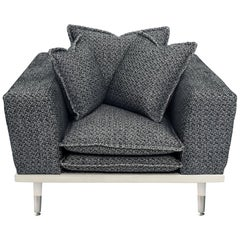 Palisades Armchair in Antique Silver and Navy by Badgley Mischka Home