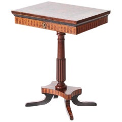 Antique Walnut Marquetry Inlaid Lamp Table