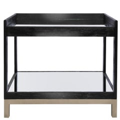 Doheny Bar Cart in Ebony and Champagne Leaf by Badgley Mischka Home