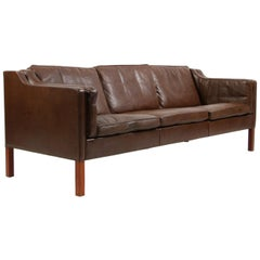 Børge Mogensen Three-Seat Sofa, Model 2213, Original Brown Leather