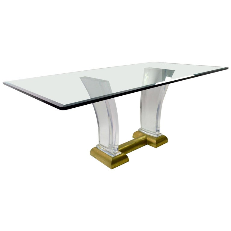 Large Lucite Brass and Glass Dining Table by Jeffrey Bigelow For Sale