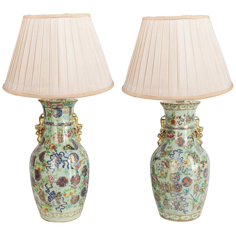 Near Pair of 19th Century Chinese Celadon / Rose Medallion Vases / Lamps For Sale