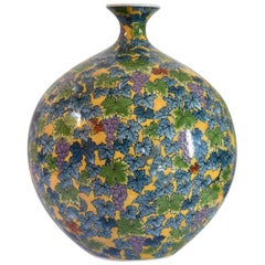 Japanese Large Hand Painted yellow Porcelain Vase by Contemporary Master Artist