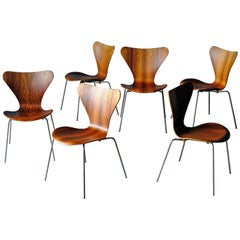 Arne Jacobsen, Series 7 Chairs in Rosewood, Set of 6