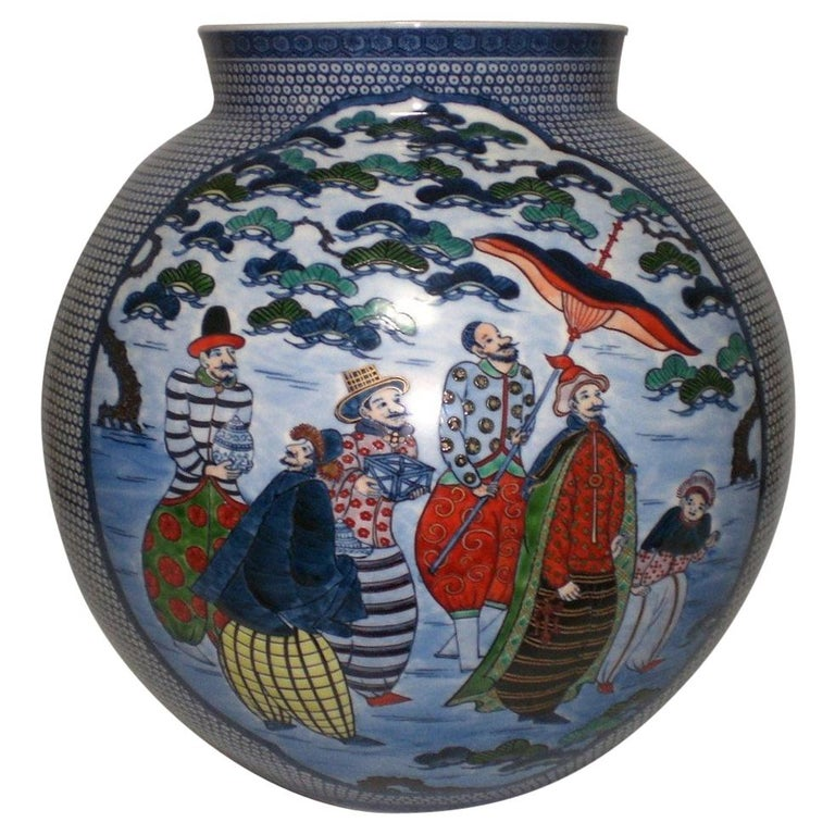Japanese Large Imari Hand Painted Blue Porcelain Vase by Master Artist, 2018 For Sale