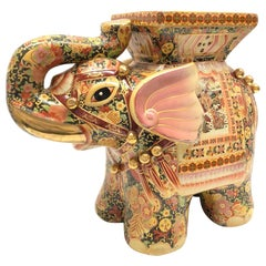 Petite Gilded Hollywood Regency Chinese Elephant Flower Pot Stand Vintage German