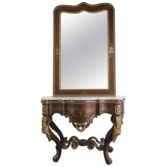 Large Grand French Rosewood Console and Mirror