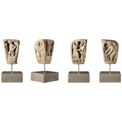Romanesque 'Labours of the Months' Capital, French, Limestone, circa 1150-1250