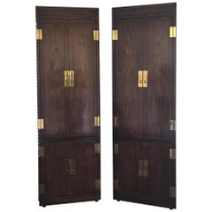 Beautiful Vintage Pair of Henredon Tall Cabinets with Brass Hardware