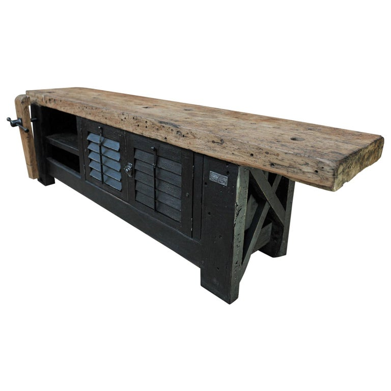 Carpenter Vice Work Bench circa 1930 with Shutter Doors For Sale