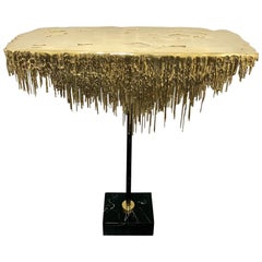 Polished Brass Console with Marble Base