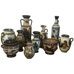 10-Piece Collection Guerin Bouffioulx Belgian Pottery Greek and Egyptian Designs