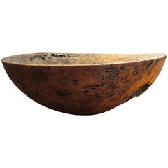 Very Large Hand-Turned Wooden Bowl Sculpture by Mike Chai Burr Oak