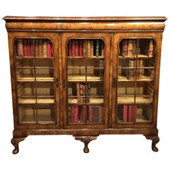 Walnut Queen Anne Revival Three-Door Bookcase