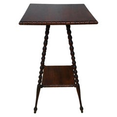 Wooden Turned Leg Side Table with Bottom Shelf