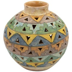 Dolores Porras Mexican Antique Rustic Geometric Vase Clay Made in Oaxaca, 1998