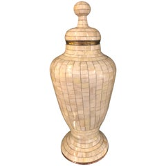 Beautiful Antique Natural Bone Over Brass Urn