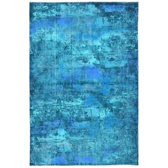 Vintage Persian Rug with Modern Overdyed Design in Shades of Blue, Green, Teal