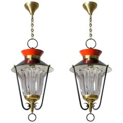 Pair of 1950s French Lanterns, Red, Black, Brass and Crystal Glass