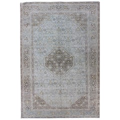 Antique Persian Tabriz Rug with Medallion in Light Blue, Tan and Brown Colors
