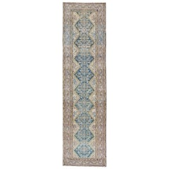 Blue Green, Teal, Brown, Yellow and Yellow Green Antique Persian Malayer Runner