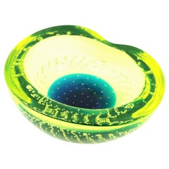 Galliano Ferro Neon Yellow Green Blue Bullicante Murano Glass Bowl or Ashtray
