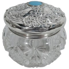 Antique American Brilliant-Cut Glass and Sterling Silver Vanity Jar