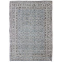 Antique Persian Tabriz Rug in Grays and Blues with All-Over Botanical Design