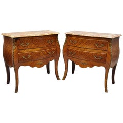 Pair of French Louis XV Style Pink Marble-Top Inlaid Bombe Commode Chests