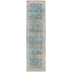 Antique Persian Malayer Runner in Shades of Blue and Green with Tribal Design
