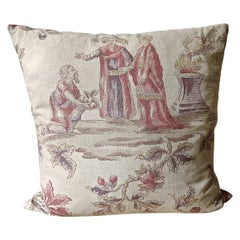 Large Scale Figures Linen Pillow French, Early 20th Century