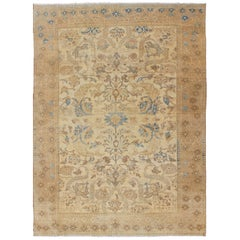 Earth Tone Colors Vintage Persian Bakhtiari Rug with All-Over Blossom Design