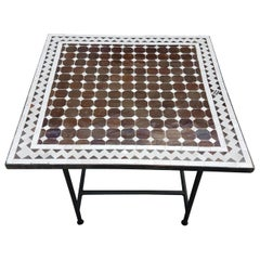 Brown / Beige Moroccan Mosaic Table, Choice of Iron Base