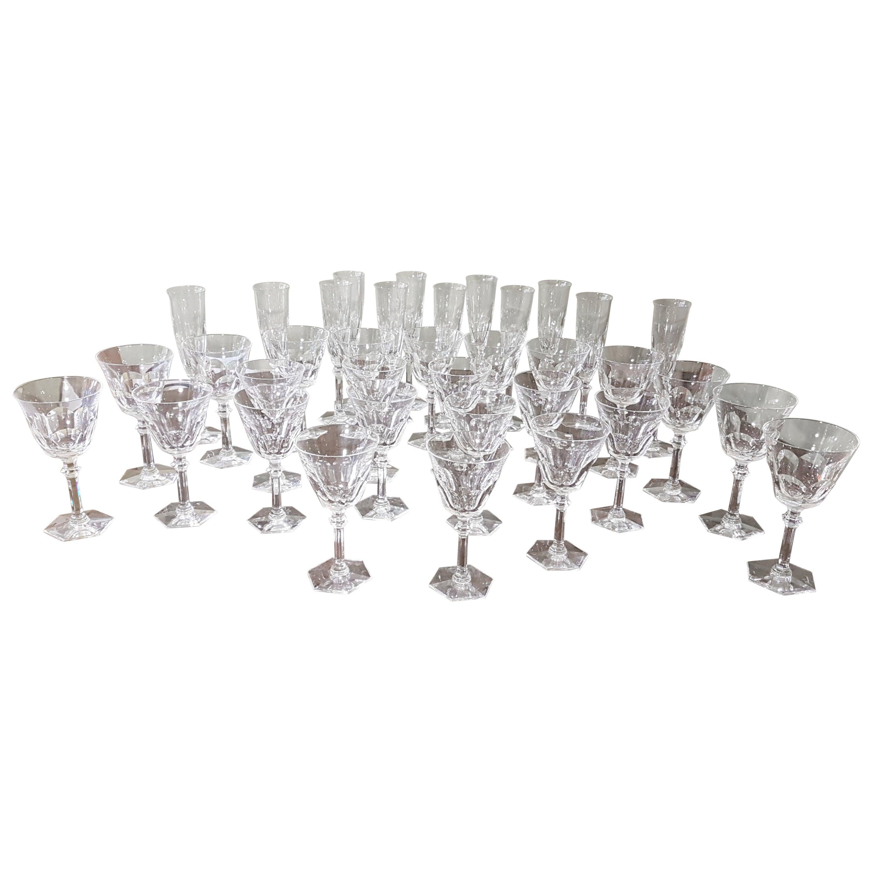 "36-Piece Set of Baccarat Crystal ""Harcourt Eve"" Stemware, Modern"