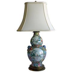 Hand Painted Chinese Double-Gourd Lamp with Ornamental Finial