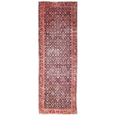 Colorful Antique Persian Malayer Runner with All-Over Floral SubGeometric Design