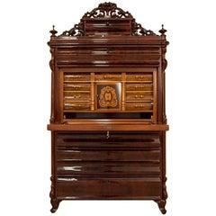 Mahogany Secretary Desk, circa 1860, After Renovation
