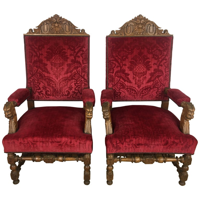 Pair of 19th Century French Revival Louis XIII style Throne Armchairs