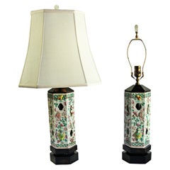 Pair of Hand-Painted Chinese Hat Stands as Lamps with Jade Finials