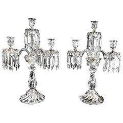 Beautiful Pair of Baccarat Four-Light Candelabra, Marked Baccarat